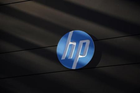 Hewlett-Packard logo is seen at the company's Executive Briefing Center in Palo Alto, California January 16, 2013. REUTERS/Stephen Lam/Files