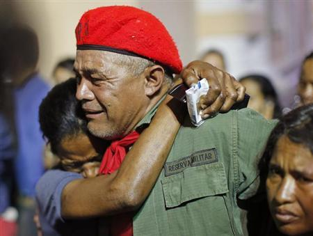 Supporters of Venezuela's President Hugo Chavez react to the announcement of his death in Caracas, March 5, 2013. REUTERS/Jorge Silva
