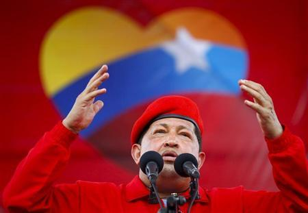 Venezuela's President Hugo Chavez speaks during a rally in Maracay, some 100 km (62 miles) west of Caracas July 1, 2012. REUTERS/Carlos Garcia Rawlins