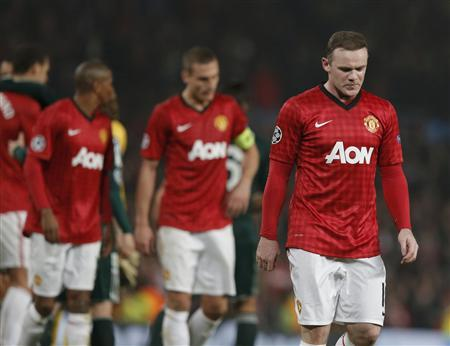 Manchester United's Wayne Rooney reacts after the Champions League soccer match against Real Madrid at Old Trafford stadium in Manchester, March 5, 2013. REUTERS/Phil Noble