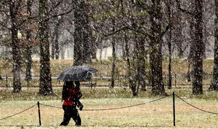 A woman walks along the Vietnam Veterans Memorial on National Mall during a snowstorm in Washington March 6, 2013. A fierce snowstorm packing heavy, wet snow shut down the U.S. capital on Wednesday as Washington could get slammed by its biggest snowfall in possibly two years, with 6 to 12 inches (15 to 30 cm) of snow expected after the storm moved eastward into the Mid-Atlantic States, the National Weather Service said. REUTERS/Kevin Lamarque