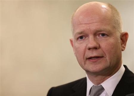 Britain's Foreign Secretary William Hague talks to the media at the presidential palace in Baabda, near Beirut February 21, 2013. REUTERS/Mohamed Azakir