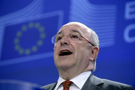 European Union (EU) Competition Commissioner Joaquin Almunia holds a news conference at the EU Commission headquarters in Brussels March 6, 2013. The European Union fined Microsoft Corp 561 million euros on Wednesday for failing to offer consumers a choice of web browser, a charge that will act as a warning to other technology firms involved in antitrust disputes with the EU. REUTERS/Eric Vidal