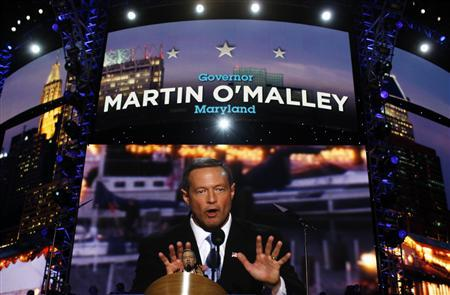 Maryland Governor Martin O'Malley addresses the 2012 Democratic National Convention in Charlotte, North Carolina, September 4, 2012. REUTERS/Jim Young