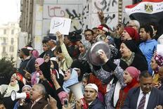 People shout slogans on hunger and poverty during an anti-government protest in Cairo February 22, 2013. REUTERS/Mohamed Abd El Ghany
