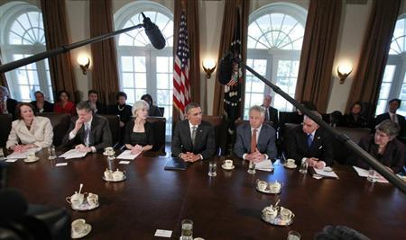 U.S. President Barack Obama participates in his first cabinet meeting of his second term in the Cabinet Room of the White House in Washington, March 4, 2013. Pictured with Obama are (L-R) Small Business Administration's Karen Mills, Education Secretary Arne Duncan, Health and Human Services Secretary Kathleen Sebelius, Secretary of Defense Chuck Hagel, Transportation Secretary Ray LaHood and Secretary of Homeland Security Janet Napolitano. REUTERS/Jason Reed