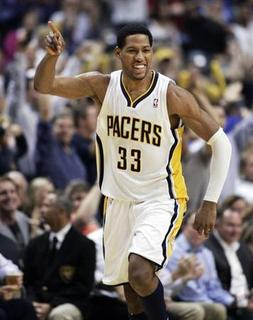Indiana Pacers forward Danny Granger celebrates scoring against the Orlando Magic during the second quarter of Game 5 of their first round NBA Eastern Conference playoff basketball game in Indianapolis May 8, 2012. REUTERS/Brent Smith