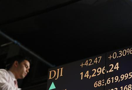 A board displays the Dow Jones Industrial average after the close at the New York Stock Exchange, March 6, 2013. REUTERS/Brendan McDermid