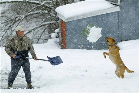 Bill Groves plays with his dog Red while shovelling snow during a massive blizzard near Mt. Jackson, Virginia March 6, 2013. REUTERS/Gary Cameron