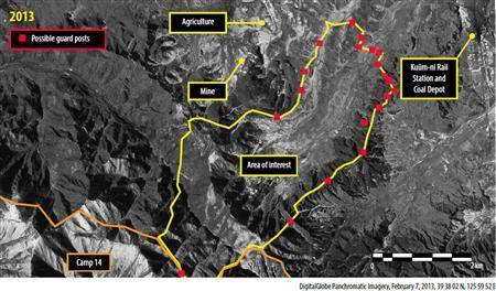 What human rights organisation Amnesty International calls 20 possible guard posts are seen in North Korea's Ch'oma-Bong valley, in this satellite image released by Amnesty International in London on March 7, 2013. REUTERS/Digital Globe 2013/Amnesty International/handout