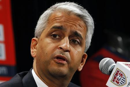 U.S. Soccer President Sunil Gulati speaks at a news conference where Former German soccer star Juergen Klinsmann was named as the new head coach of the United States men's national soccer team in New York, August 1, 2011. REUTERS/Mike Segar