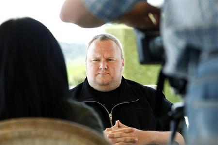 Kim Dotcom attends an interview with Reuters in Auckland January 19, 2013. REUTERS/Nigel Marple