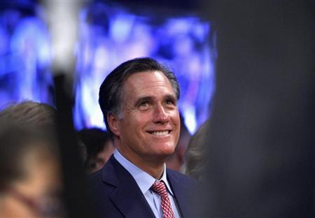 Former Republican U.S. presidential candidate Mitt Romney waits for the start of a welterweight bout between Manny Pacquiao of the Philippines and Juan Manuel Marquez of Mexico at the MGM Grand Garden Arena in Las Vegas, Nevada December 8, 2012. REUTERS/Steve Marcus