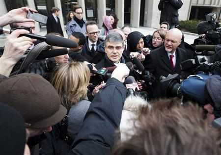 Former Nortel Chief Executive Frank Dunn's lawyer David Porter speaks outside of the courthouse in Toronto January 14, 2013. REUTERS/Mark Blinch