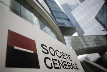A logo is seen is seen in front of French bank Societe Generale headquarters in La Defense near Paris, February 13, 2013. REUTERS/Christian Hartmann
