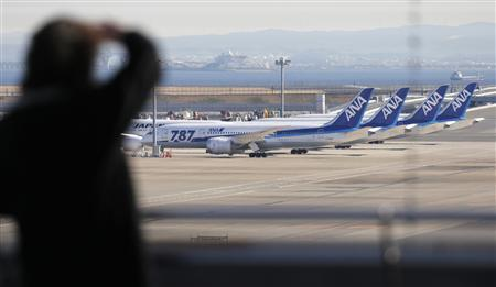 A woman looks at All Nippon Airways' (ANA) Boeing Co's 787 Dreamliner planes at Haneda airport in Tokyo January 29, 2013. REUTERS/Toru Hanai