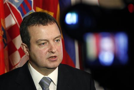 Serbia's Interior Minister Ivica Dacic talks during an interview to Reuters after the Regional Conference of Interior Ministers in Zagreb February 12, 2010. REUTERS/Nikola Solic