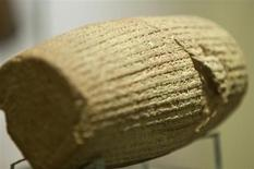 The Cyrus Cylinder, a 539-530 B.C. artefact, is seen on display at the National Museum of Iran in Tehran September 12, 2010. REUTERS/Caren Firouz
