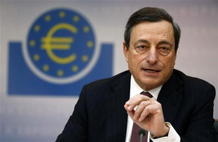 Mario Draghi, President of the European Central Bank (ECB) , addresses the media during his monthly news conference in Frankfurt, March 7, 2013. Draghi announced that the ECB leaves the interest rates unchanged. REUTERS/Kai Pfaffenbach