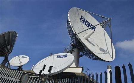 Satellite transmission dishes are seen near BBC Television Centre at White City in London February 18, 2013. REUTERS/Toby Melville