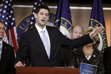 House Budget Chairman Paul Ryan (R-Wis.) speaks during a news conference as he unveils ''The FY2013 Budget - The Path to Prosperity.'' with members of the House Budget Committee at Capitol Hill in Washington March 20, 2012. REUTERS/Jose Luis Magana
