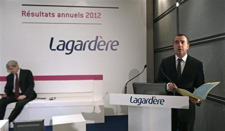 Arnaud Lagardere, the head of French media group Lagardere, presents the company's 2012 annual results in Levallois, near Paris, March 7, 2013. Lagardere expects to sell all of its 7.4 percent stake in aerospace and defence group EADS by July 31, it said on Thursday. REUTERS/Jacky Naegelen