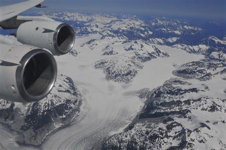 A British Columbia glacier is seen from NASA's DC-8 ASCENDS II flight in this August 2011 handout photo courtesy of the agency. REUTERS/NASA/E.Shaller/ASCENDS II /Handout