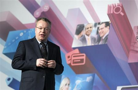 Nokia's President and CEO Stephen Elop speaks during a news conference at the Mobile World Congress in Barcelona, February 26, 2013. REUTERS/Albert Gea