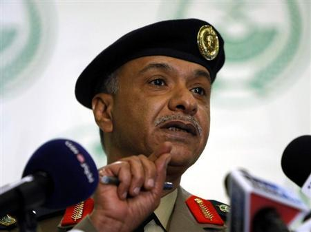 Interior Ministry spokesman Mansour Turki gestures during a news conference in Riyadh January 9, 2011. REUTERS/ Mohammed Mashour