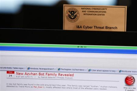 A work station is pictured at the U.S. Department of Homeland Security's National Cybersecurity & Communications Integration Center (NCCIC) located just outside Washington in Arlington, Virginia September 24, 2010. REUTERS/Hyungwon Kang