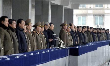 North Korean officials attend a rally celebrating the country's third nuclear test at the Kim Il-Sung square in Pyongyang February 14, 2013 in this picture taken and released by the North's official KCNA news agency. REUTERS/KCNA