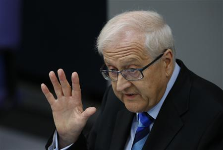 Rainer Bruederle, parliamentary faction leader of the liberal Free Democratic Party (FDP) addresses a session of the Bundestag, German lower house of parliament, at the Reichstag in Berlin September 12, 2012. REUTERS/Fabrizio Bensch