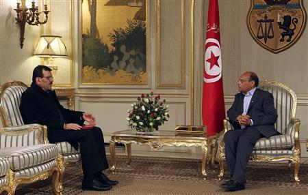 Tunisia's Prime Minister-designate Ali Larayedh meets with Tunisia's President Moncef Marzouki (R) in Tunis March 7, 2013. REUTERS/Zoubeir Souissi