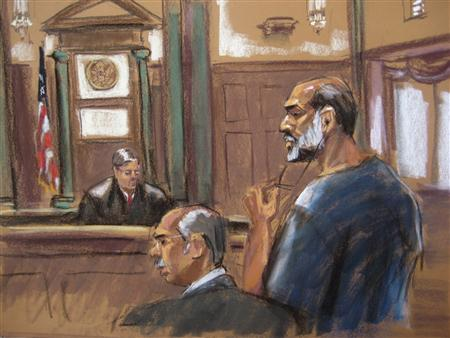 An artist sketch shows Suleiman Abu Ghaith, a militant who appeared in videos as a spokesman for al Qaeda after the September 11, 2001 attacks, appears before Judge Lewis Kaplan at the U.S. District Court in Manhattan March 8, 2013. REUTERS/Jane Rosenberg