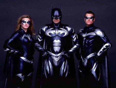 UNDATED PUBLICITY PHOTOGRAPH - The cast of the new film ''Batman & Robin'' pose in this undated publicity photograph. Shown (L-R) are Alicia Silverstone as ''Batgirl,'' George Clooney as ''Batman,'' and Chris O'Donnell as ''Robin.'' The film opens in the United States June 20. fsp/HO-Warner Bros. USA BATMAN - RTR4GCI