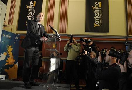 Tour De France race director Christian Prudhomme announces the route of the 2014 tour's Grand D'epart during a media conference in Leeds, northern England January 17, 2013. REUTERS/Nigel Roddis