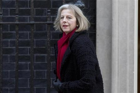 Britain's Home Secretary Theresa May leaves Downing Street in central London February 5, 2013. REUTERS/Neil Hall