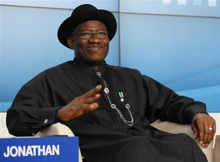 Nigeria's President Goodluck Ebele Jonathan attends the annual meeting of the World Economic Forum (WEF) in Davos January 23, 2013. REUTERS/Pascal Lauener