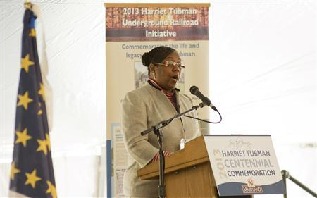Harriet Tubman's great-great-great-niece, Patricia Ross-Hawkins, gives a speech during the groundbreaking of the Harriet Tubman Underground Railroad State Park in Cambridge, Maryland, March 9, 2013. REUTERS/Lacey Johnson