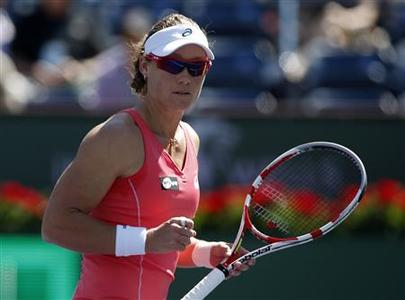 Samantha Stosur of Australia celebrates winning a point against Madison Keys of the U.S. during their match at the BNP Paribas Open WTA tennis tournament in Indian Wells, California, March 9, 2013. REUTERS/Danny Moloshok
