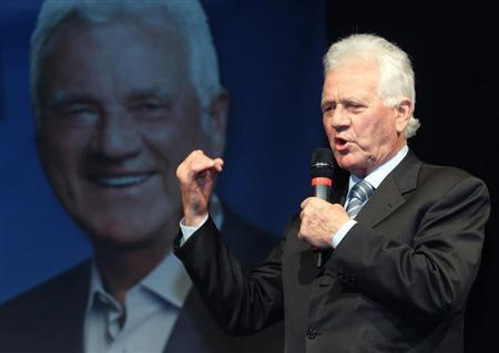 Austrian-Canadian businessman and billionaire Frank Stronach of ''Team Stronach'' delivers a speech during his final election rally in St. Poelten March 1, 2013. Regional parliament elections for Lower Austria province take place on March 3. REUTERS/Heinz-Peter Bader
