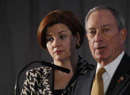 New York City Mayor Michael Bloomberg and City Council Speaker Christine Quinn speak during a news conference in New York December 4, 2012. REUTERS/Brendan McDermid