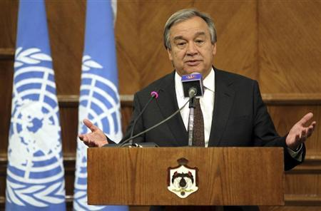 United Nations High Commissioner for Refugees (UNHCR) Antonio Guterres speaks during a joint news conference with Jordan's Foreign Minister Nasser Joudeh at the Jordanian foreign ministry in Amman June 7, 2012. REUTERS/Muhammad Hamed