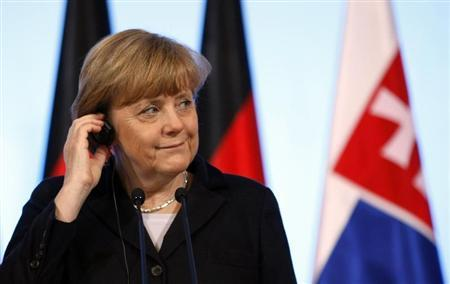 Germany's Chancellor Angela Merkel reacts during a news conference at the Visegrad Group meeting in Warsaw March 6, 2013. REUTERS/Kacper Pempel