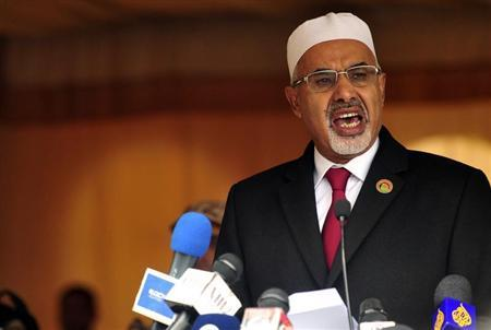Libyan National Congress President Mohammed Magarief speaks at a ceremony to mark the second anniversary of the country's revolution in Benghazi February 17, 2013. REUTERS/Esam Al-Fetori