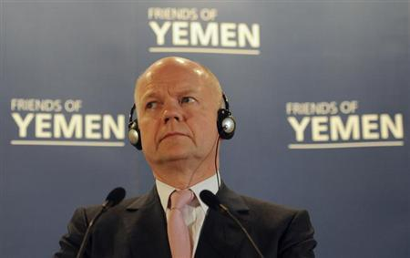 Britain's Foreign Secretary William Hague listens during a news conference following the Friends of Yemen ministerial meeting in London March 7, 2013. REUTERS/Stefan Rousseau/Pool
