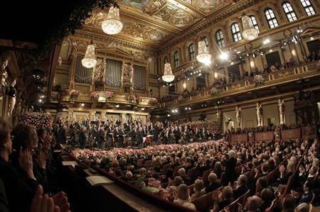 The Vienna Philharmonic Orchestra perform during the traditional New Year's Concert in the Golden Hall of the Vienna Musikverein in Vienna January 1, 2013. REUTERS/Herwig Prammer