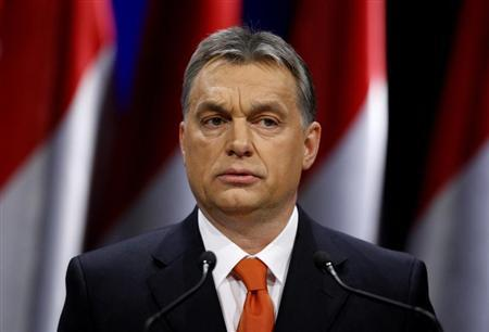 Hungarian Prime Minister Viktor Orban presents his annual state-of-the-nation speech in Budapest, February 22, 2013. REUTERS/Bernadett Szabo