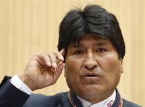Bolivia's President Evo Morales delivers a speech during a United Nations Office on Drugs and Crime (UNODC) conference at the U.N. headquarters in Vienna March 11, 2013. REUTERS/Heinz-Peter Bader