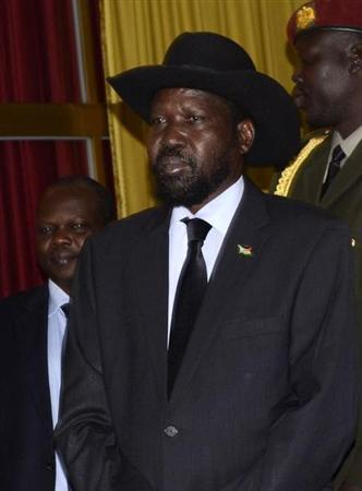 South Sudan's President Salva Kiir leaves after a meeting at the National Palace in the Ethiopian capital Addis Ababa January 5, 2013. REUTERS/Tiksa Negeri